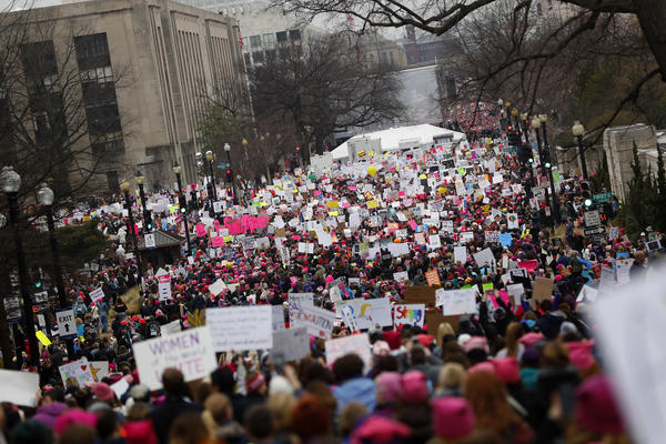 A crowd fills Independence Avenue during Saturday's Women's March on Washington in D.C.