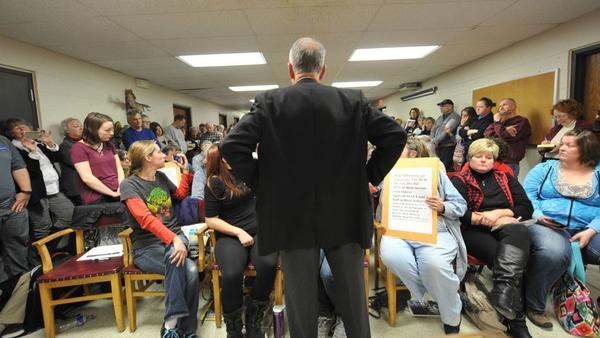 Sen. Chuck Grassley, R-Iowa, speaks during a town hall meeting at the Hancock County Courthouse on Tuesday in Garner, Iowa.