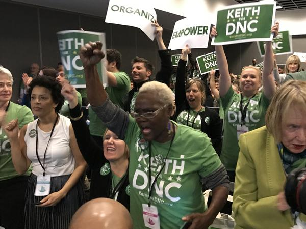 Supporters of Minnesota Rep. Keith Ellison cheer as he is being introduced. Ellison is seen as one of the two front-runners for chairman of the party.