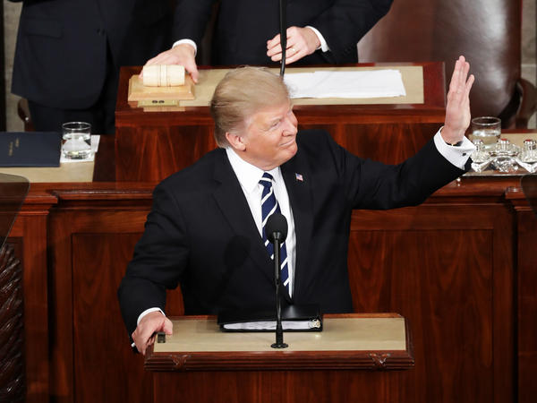 President Trump arrives to address a joint session of the Congress at the Capitol on Tuesday.