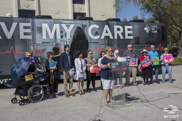 """Several patients, caregivers and doctors shared their story on the Tampa stop of the """"Save Our Care"""" Bus Tour."""
