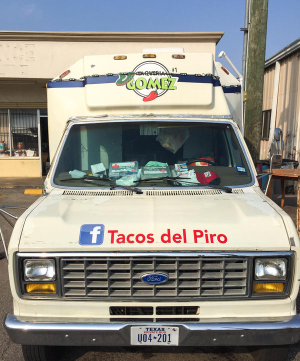 "One of Piro Garcia's two taco trucks. ""He was a good guy, he always helped people. He had a good family. Everybody loves his tacos,"" says Paul Eberson, an Army veteran who keeps a workshop next to one of Piro's food trucks."