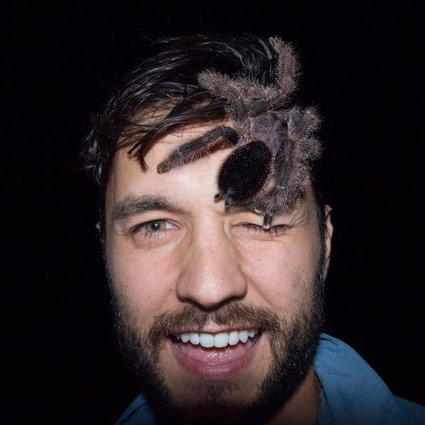 Phil Torres lets a tarantula from the Yasuni National Park in Ecuador rest on top of his head in May 2016.
