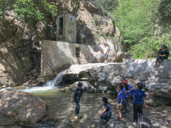 School kids enjoy the water in Eaton Canyon near Altadena, Calif.
