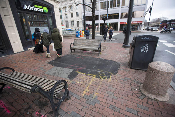 """The corner of Western Avenue and Massachusetts Avenue is the location of the planned placement of the """"Portland Loo"""" public toilet in Central Square. (Jesse Costa/WBUR)"""