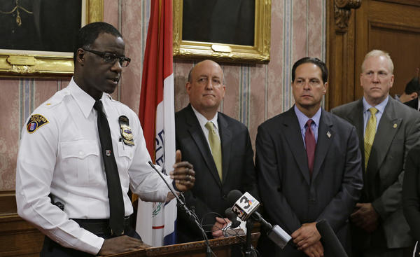 Cleveland Police Chief Calvin Williams answers questions during a news conference on Tuesday.
