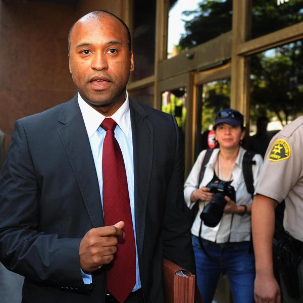 Londell McMillan leaving the Superior Court in Los Angeles on July 6, 2009 following a hearing over Michael Jackson's estate.