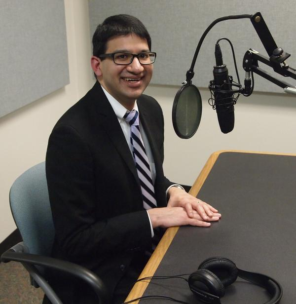 Dr. Sameer Vohra in the Tri States Public Radio news studio.  He was the keynote speaker for Minority Health Month at WIU.