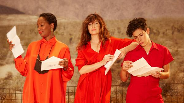 Kathryn Hahn (center, with Lily Mojekwu and Roberta Colindrez) plays a filmmaker who is infatuated and infuriated by the title character in Amazon's new series<em> I Love Dick.</em>