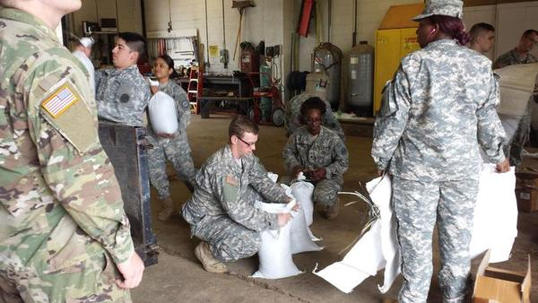 National Guard filling sandbags in Oswego Co.
