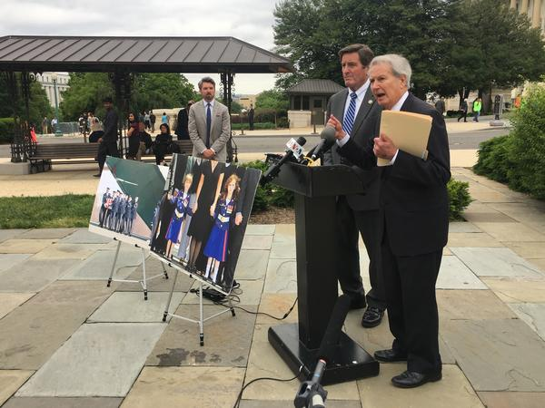 Reps. Walter B. Jones, R-N.C. (right), and John Garamendi, D-Calif., speak at a press conference last week outside the Capitol on their bipartisan legislation to cut off funds for military operations in Afghanistan.