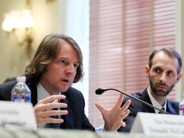 Federal Election Commission Commissioners Don McGahn (left) and Matthew Petersen testify during a hearing before a House panel in 2011. The hearing was to focus on the processes and procedures of the commission.