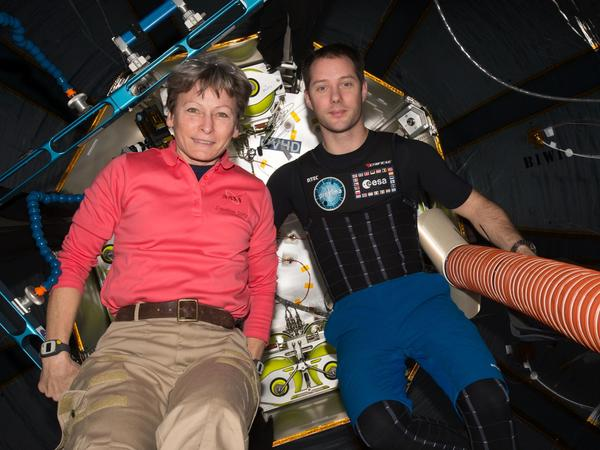 Astronauts Peggy Whitson and Thomas Pesquet are photographed inside BEAM, which has an interior roughly the size of a medium school bus.