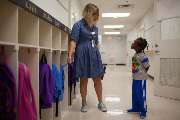 On the second day of school, a student asks Amy Brewer, the director of education for Positive Tomorrows, how she knew that he needed a backpack. Positive Tomorrows provides each student with a backpack and all the school supplies they need. Students are also provided with hygiene items, clothes, shoes and jackets as needed.