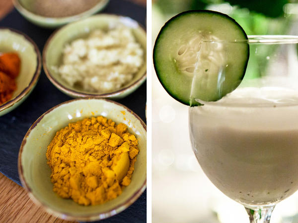 (Top) Chicken korma, or murgh qorma, an onion and tomato-based chicken braise, is traditionally eaten during Ramadan in Afghanistan. (Left) A collection of spices used to make <em>murgh qorma. (</em>Right) Guests were served <em>doogh</em>, a traditional Afghan mint yogurt drink.