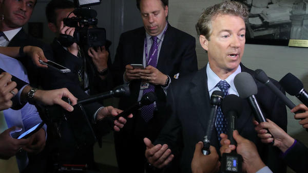Sen. Rand Paul, R-Ky., speaks to the media about the Senate Republican health care bill proposal on Thursday.