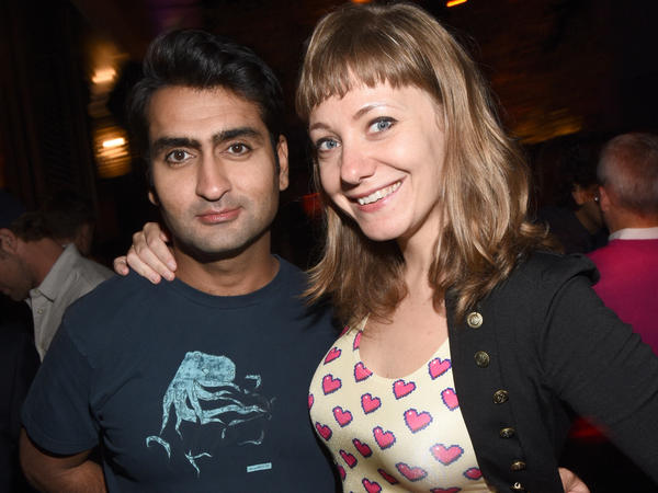 Kumail Nanjiani and Emily Gordon attend a San Diego Comic-Con party in 2015.