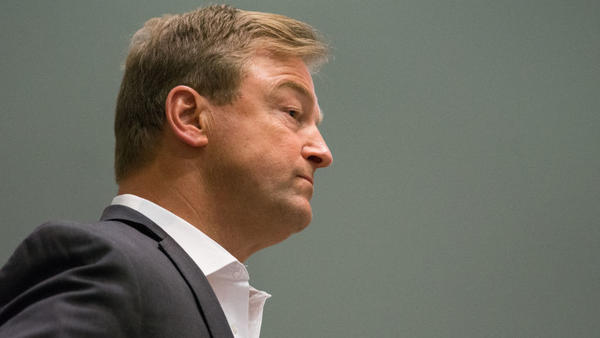 Sen. Dean Heller, R-Nev., listens to constituents at a town hall in April.