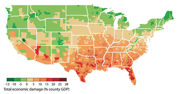 "Potential economic damages are shown at the county level in a scenario in which emissions of greenhouse gases continue at current rates. Green indicates areas that could see economic benefits. To see an interactive version of this map, click <a href=""http://www.impactlab.org/map/"">here</a>."