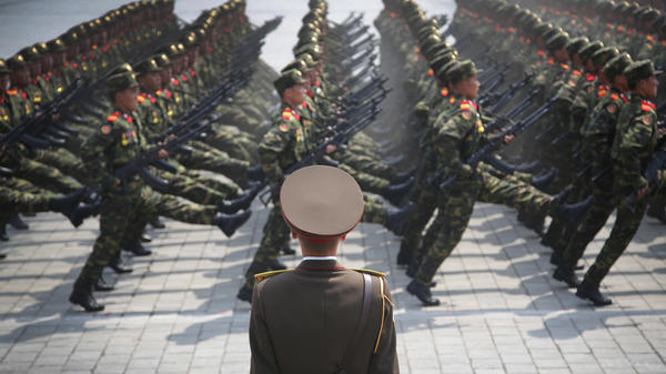 Soldiers march across Kim Il Sung Square during a military parade in Pyongyang.