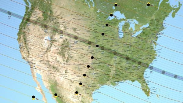 A map of the United States shows where and how much of the eclipse will be visible, including path of totality from Oregon to South Carolina.