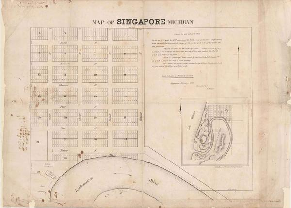 Plat of the village of Singapore, 1838.