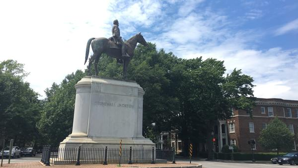 "Memorials to Confederate leaders like Thomas ""Stonewall"" Jackson, pictured, Jefferson Davis and Robert E. Lee line Monument Avenue, a stately historic street in downtown Richmond."