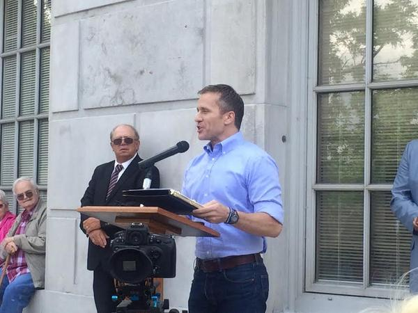Gov. Eric Greitens is shown at a rally for the bill he later signed to help reopen an alumnium-smelting plant and a possible steel plant.