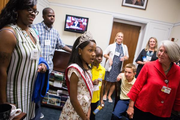 Tymia enters the office of South Carolina Rep. Mark Sanford, a Republican, as part of a lobbying trip organized by the Children's Hospital Association.