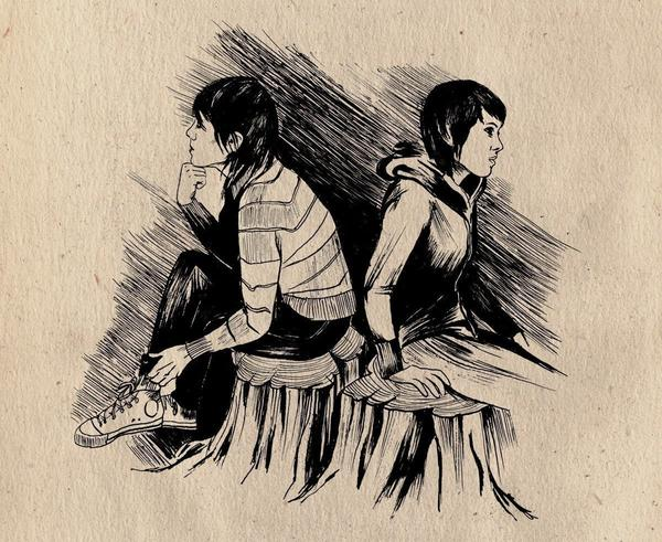 Sara and Tegan Quin as they appeared in <em>The Con</em>'s liner illustrations by Emy Storey. The 2007 album marked a critical turning point for the sisters and a touchstone for like-minded artists to follow.