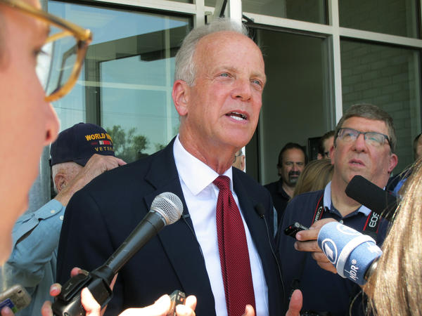 "Sen. Jerry Moran, R-Kan., speaks to reporters following a town hall meeting earlier this month. Moran and Utah Sen. Mike Lee joined the ""no"" vote on the Republican-sponsored Obamacare replacement bill."