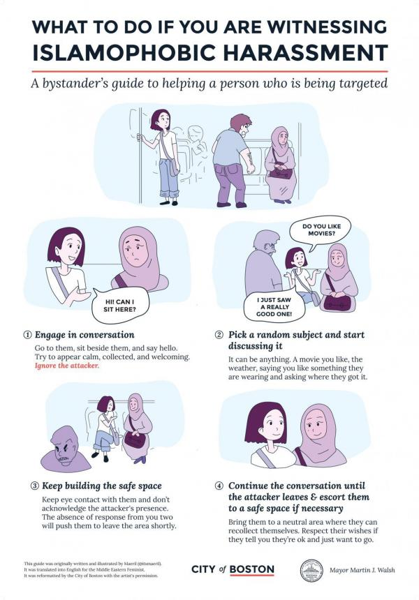 """A poster campaign by the city of Boston offers advice on how bystanders can defuse the situation if a Muslim person is being harassed. The cartoon was drawn by <a href=""""http://maeril.tumblr.com/post/149669302551/hi-everyone-this-is-an-illustrated-guide-i-made"""">the artist Maeril</a>."""