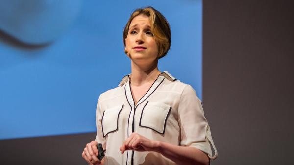 Rebecca Brachman on the TED stage.