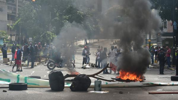 Anti-government protesters in Caracas on Thursday.