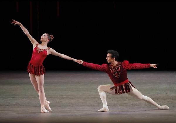 "New York City Ballet principal dancers Megan Fairchild and Joaquin De Luz perform ""Rubies.""<em> (</em><em>Jewels, choreography by George Balanchine, © The George Balanchine Trust)</em>"
