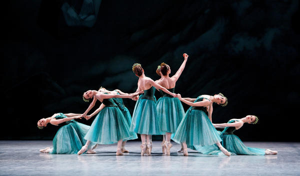 "Dancers from the Paris Opera Ballet perform ""Emeralds,"" the first movement of George Balanchine's <em>Jewels, </em>which marks its 50th anniversary this year. <em>(Jewels, choreography by George Balanchine, © The George Balanchine Trust)</em><em></em>"