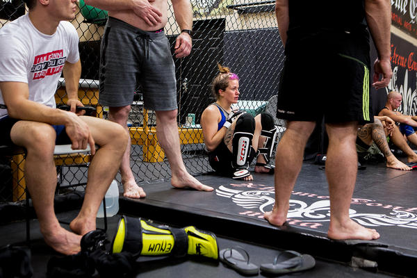 Mazany takes a break from her training. For the past six years, researchers have been looking for changes in blood work, brain scans and mental functioning in the fighters enrolled in their study. So far, Mazany's tests show her brain functioning hasn't been affected.