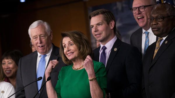 House Minority Whip Steny Hoyer, House Minority Leader Nancy Pelosi, Rep. Eric Swalwell, Rep. Joe Crowley and Rep. James Clyburn after Republicans withdrew their health care bill in March.