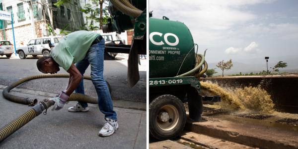 Sanitation company Sanco sends pump trucks to empty septic tanks for high-end clients such as hotels and government offices. The trucks transport the waste to the sewage treatment plant at Morne a Cabrit.
