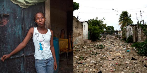 Project Drouillard resident Widline Charles, 21, fled her home during floods over Easter weekend this year. Months later, her street is still covered in a foot or more of mud, trash and sewage.