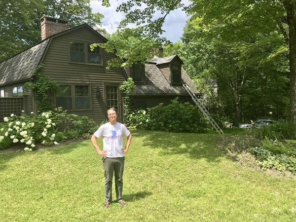 Harry Bliss, a longtime illustrator and cartoonist stands outside his New Hampshire home, where he will be hosting a fellowship for burgeoning cartoonists. The house happens to have been the residence of the famously reclusive author, J.D. Salinger.