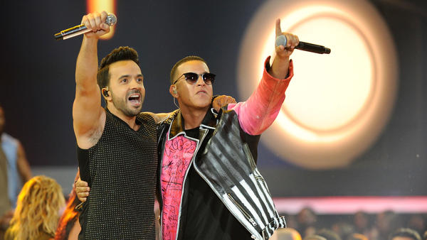 "Luis Fonsi and Daddy Yankee performing ""Despacito"" onstage at the Billboard Latin Music Awards 2017."