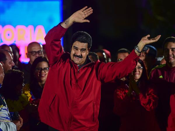 "Venezuelan President Nicolas Maduro celebrates the results of Sunday's referendum to elect members of his constituent assembly. For this ""fundamental assault on the freedoms of the Venezuelan people,"" the U.S. Treasury announced sanctions on Maduro on Monday."
