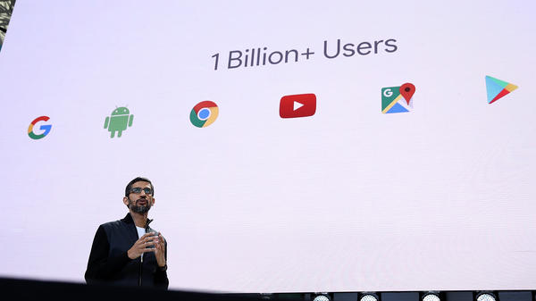 Google CEO Sundar Pichai delivers the keynote address at the Google I/O 2017 Conference at Shoreline Amphitheater on May 17 in Mountain View, Calif. Google's new tool for tracking how online ads connect to in-person sales has been criticized by a privacy watchdog group.