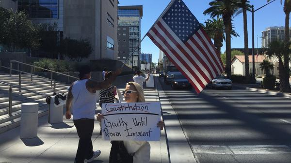 A Bundy supporter outside the Las Vegas court house.