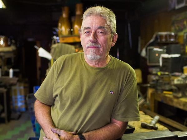 Cali Rivera in his shop, JCR Percussion Inc.