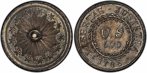 "This image provided by PCGS.com/Professional Coin Grading Service shows the front (left) and back of a 1783 plain obverse Nova Constellatio ""quint"" silver coin. Authorized by Congress, the coin had a value of 500 units in a proposed but later abandoned early American decimal monetary system that would have ranged from 5 to 1,000 units."