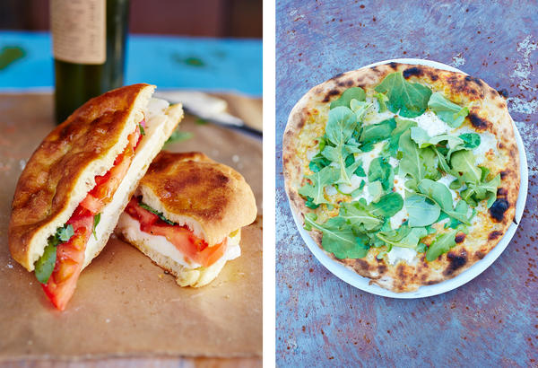 <em>Left:</em> mozzarella and tomato sandwich. <em>Right:</em> pizza biancoverde.