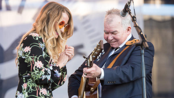 Margo Price and John Prine perform at the 2017 Newport Folk Festival.