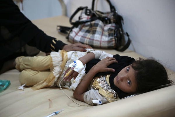 A girl is treated for a suspected cholera infection last month at a hospital in Sanaa, Yemen.